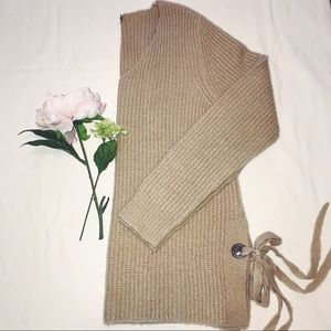 Tan Sweater with Side Ties